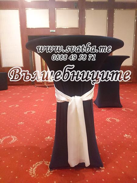 Декорация за сватба фирмено парти презентация в София хотел Маринела Hotel Marinela Sofia wedding в екрю и черно с екрю панделки за столове под наем