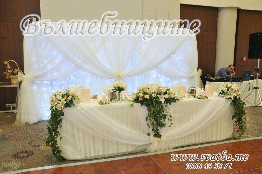 Сватбена украса в хотел Хилтън за сватба в бяло със бели панделки за столове Hilton Sofia Wedding decoration