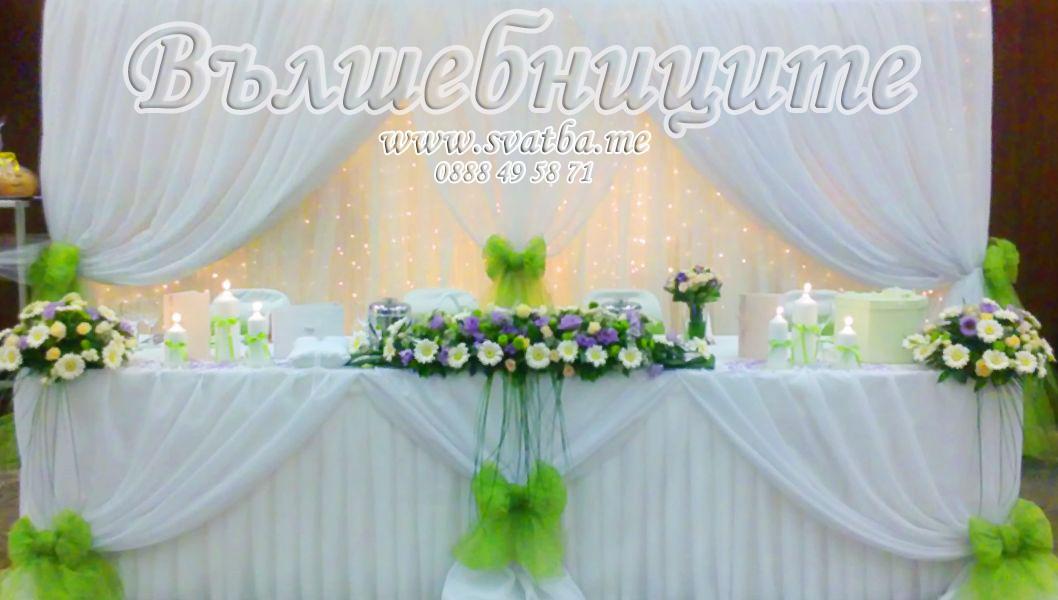 Сватбена украса в хотел Хилтън за сватба в зелено със зелени панделки за столове Hilton Sofia Wedding decoration