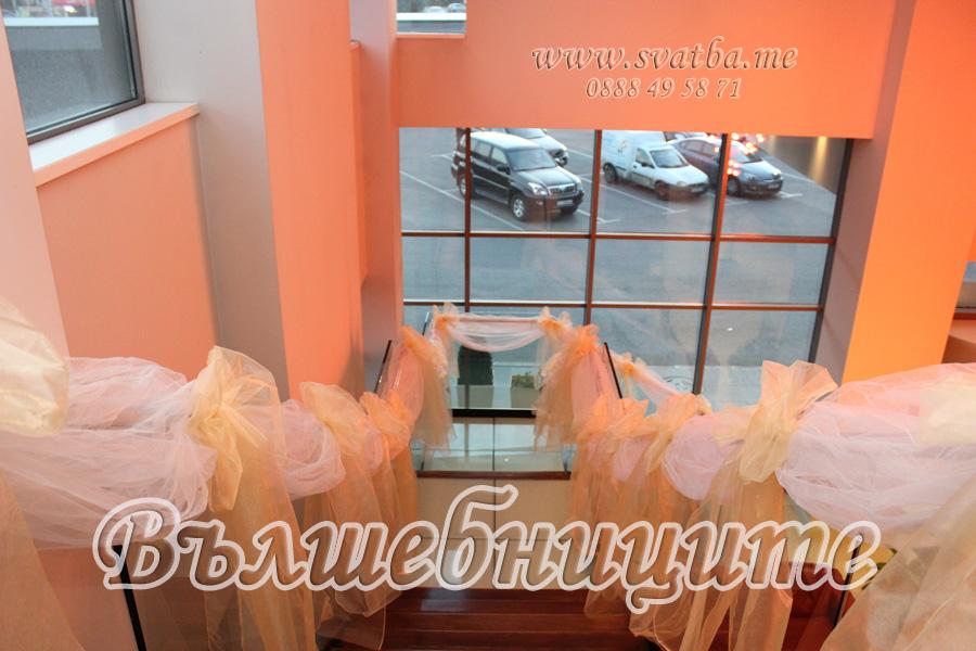 Сватбена украса в хотел Холидей Инн Holiday Inn Sofia wedding за сватба с бели калъфи за столове