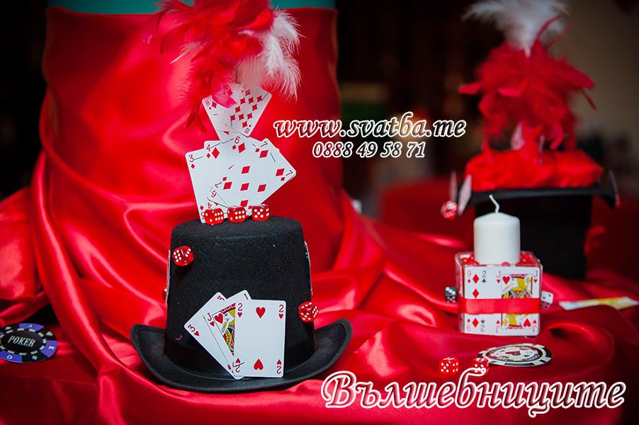 Тематична украса за юбилей 50-годишнина в Хотел Мезон София Hotel Maison Sofia с тема Казино Лас Вегас рулетка зарчета карти