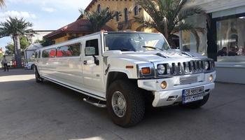 Бял Хамър лимузина под наем сватбен автомобил кола за сватба София сватбена агенция