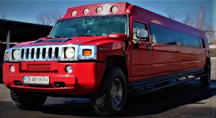 Червен Хамър лимузина под наем сватбен автомобил кола за сватба София сватбена агенция