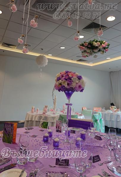 Сватбена украса хотел Новотел лилаво сватбено изложение