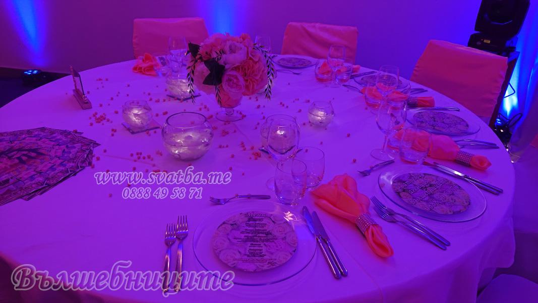Сватбена украса хотел Новотел прасковено сватбено изложение