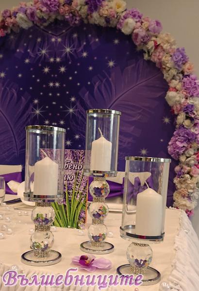 Сватбена украса хотел Новотел Novotel Sofia в тъмно лилаво с кръгла арка