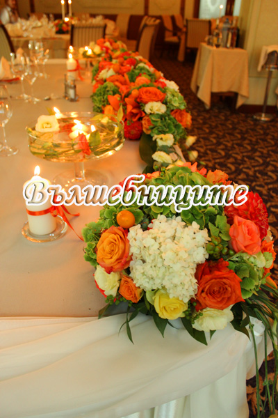 Сватбена украса в хотел Кристал Палас в оранжево